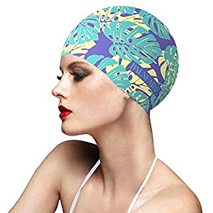 BALNEAIRE Silicone Swim Cap for Women, Waterproof Long Hair Swimming Caps Leaf Printed