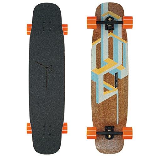 Loaded Boards Basalt Tesseract Bamboo Longboard Skateboard Complete (Mango, 80a in Heat Wheels)