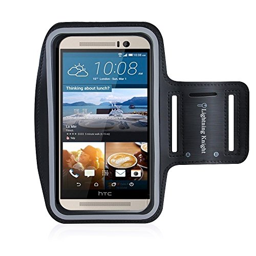 One M9 Armband, LK [Lifetime Hassle-Free Warranty] Sports Armband for HTC One M9 - Key holder Slot, Perfect Earphone Connection while Workout Running Water Resistant Sweat Proof Key Holder, Black