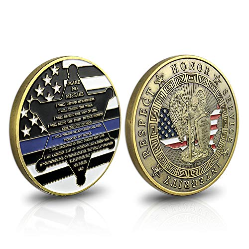 Thin Blue Line St. Michael Police Officers Challenge Coin Motto Commemorative Law Enforcement Gifts Collectible ()