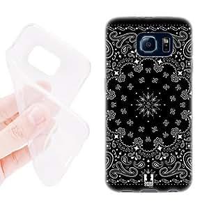 Head Case Designs Black Classic Paisley Bandana Soft Gel Back Case Cover for Samsung Galaxy S6 G920, Galaxy S6 Duos