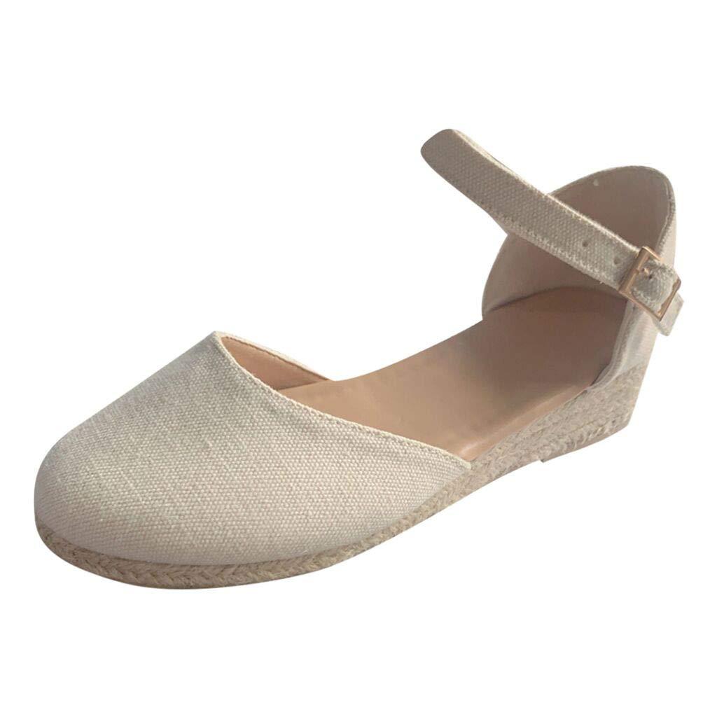 Womens Girls Retro Braided Jute Sandals Vintage Flat Thick Bottom Ankle Strap Buckle Sandals Vintage Beach Party Dress Single Shoes (Beige, 6 M US)
