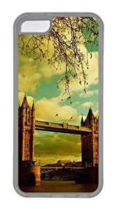London Bridge Customize TPU Soft Case Back Cover for Apple iPhone 5C Transparent