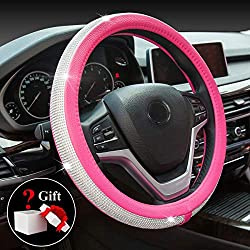 ChuLian Bling Diamond Car Steering Wheel Cover with Crystal Rhinestones Universal 15 Inch for HRV CRV Accord Corolla Prius rav4 Tacoma Camry Fusion Focus (Rose Red)