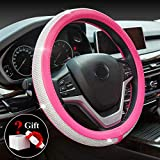 2007 Toyota RAV4 Accessories & Parts - ChuLian Bling Diamond Car Steering Wheel Cover with Crystal Rhinestones Universal 15 Inch for HRV CRV Accord Corolla Prius rav4 Tacoma Camry Fusion Focus (Rose Red)