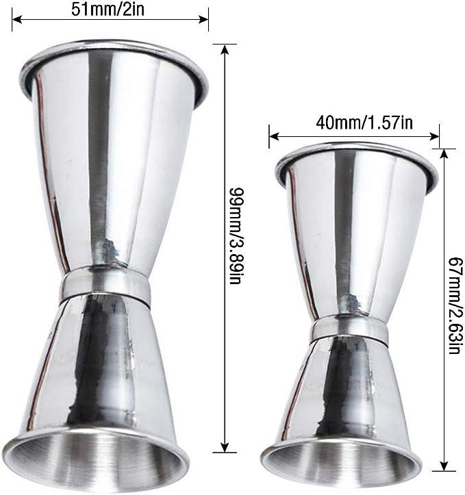 Gobesty Vaso Medidor de Cócteles, 2 piezas Copa para medir cócteles Medición de licor Juego de bebidas de doble jigger Medida para bebidas ...