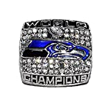 SEATTLE SEAHAWKS 2013 SUPER BOWL XLVIII WORLD CHAMPIONS (Vs. Denver Broncos) #1 Fan Rare & Collectible High-Quality Replica NFL Football Silver Championship Ring with Cherrywood Display Box