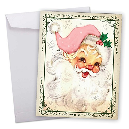 J6695CXSG Jumbo Merry Christmas Greeting Card: Pink Kringle, Featuring a Retro Vintage Style Portrait of Santa with Pink Accessories With Envelope (Large Size: 8.5