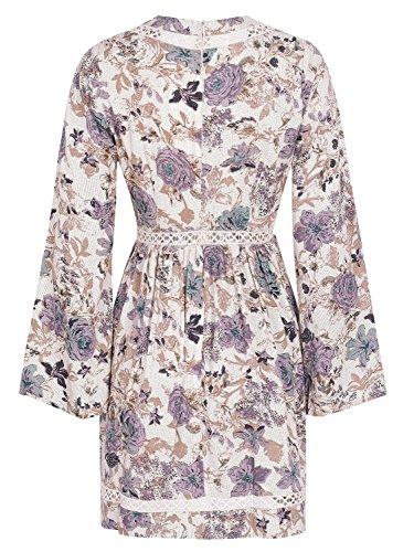 V Cou Des Femmes Simplee Vêtements À Manches Longues Taille Haute Mini Robe Imprimé Floral De Print3