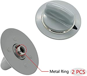Replacement Timer Control Knob WE1M964 with Reinforced Metal Ring 2Pcs By AMI Exact for GE Dryer AP4980845 PS3487132