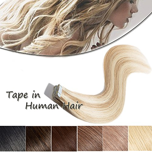 20-22 Inch Tape in Human Hair Extensions 100% Remy Straight Human Hair Professional Seamless Tape Skin Weft Extensions 20pcs 50g/pack Ash Blonde Mixed Bleach Blonde (22'',#18/613)+ 10pcs Free (Human Hair Skin)