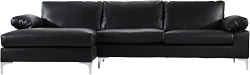 Casa Andrea Modern Large Faux Leather Sectional Sofa, L-Shape Couch with Extra Wide Chaise Lounge Black