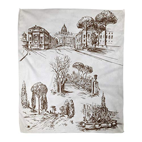 t Warm Cozy Print Flannel Drawn Rome Italy Hand Ancient Appia Angels Comfortable Soft for Bed Sofa and Couch 50x60 Inches ()