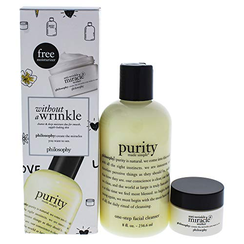 Philosophy Without A Wrinkle Cleanse & Deep-moisture Set By Philosophy for Women - 2 Pc 8oz Purity, 0.5oz Anti-wrinkle Miracle Worker, 2count