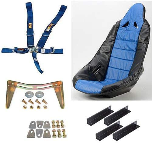 JEGS 70250K13 Pro High Back II Race Seat Kit Includes Black Seat Blue w//Black
