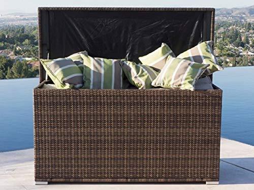 Envelor Anita Brown All Weather Outdoor Patio Storage Garden Bench Rattan Deck Box Pool Seat Wicker Garden Bench