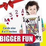 """SanRocFun Jumbo Playing Cards Full Deck Huge Poker Super Jumbo Playing Cards for for All Ages Size 8-1/4"""" x 11-3/4"""""""