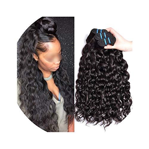 Indian Water Wave Hair Bundles Indian Hair Bundles Human Hair Weave Bundles 1B/Natural Color Non-Remy Hair Extension,18 18 18,Natural Color