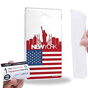 Case88 [Sony Xperia M2] Gel TPU Carcasa/Funda & Tarjeta de garantía - Art Design Drawing New York Flag Skyline 2629