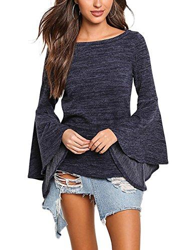 SunnyLady Women Scoop Neck Long Bell Sleeve Blouse Flare Knit T-Shirt Top Deep Blue M (Bells Holiday Top)