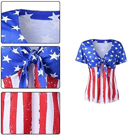 Demarkt Women Short V-Neck Polyester Sleeve Tee Print T-Shirts Stitching Summer Tee for Daily,Party/&Vacation