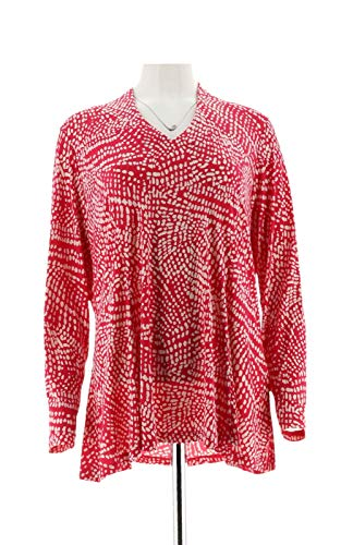 Susan Graver Printed Liquid Knit Fit Flare Top Deep Pink M New A298487