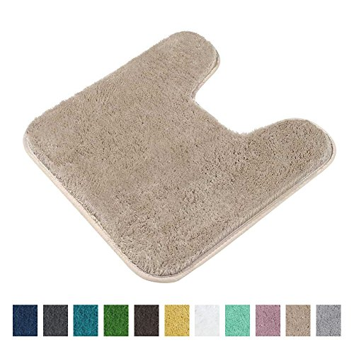 Contour Bath Rug, Seavish Microfiber Non Slip U-shaped Toilet Floor Rug Shower Mat Anti-bacterial Shaggy Bathroom Carpet 20x20 Inches, Warm (Bathroom Floor Rugs)