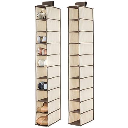 mDesign Juego de 2 muebles zapateros para colgar – Organizador de zapatos para armario con 10
