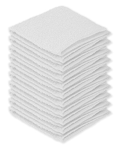 DecorRack 100% Cotton Wash Cloth, Luxurious Soft, 12 x 12 inch Ultra Absorbent, Machine Washable Washcloths, White (10 Pack)