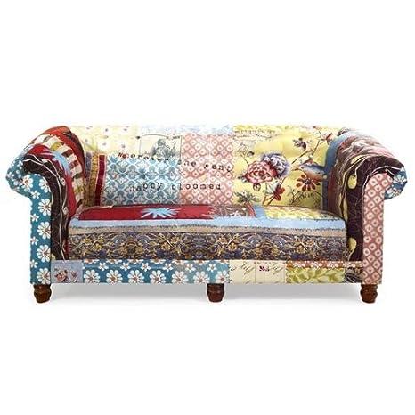 3 Sitzer Sofa Mit Bezug Textil In Bunt Patchwork Modell Ace