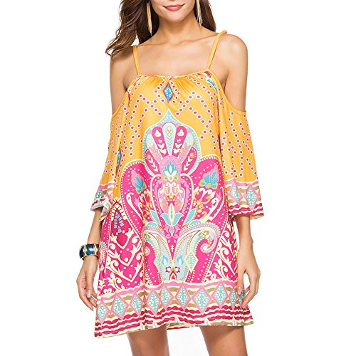 - HAALIFE◕‿Women's Tribal Print Kimono Sleeve Geometric Tunic Boho Dress