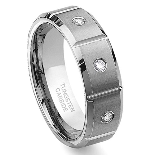 Hollywood Pro Tungsten Carbide Diamond Wedding Band Ring 8mm w/Grooves (0.10ctw) GH/SI Sz 8.5 Diamond Silver Bezel Bands
