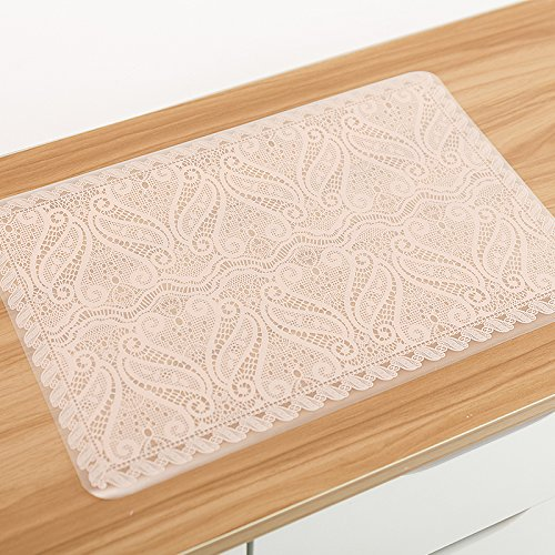 Lace Printed Table Mat For Dining - 4 Pcs Waterproof Placemat For Kitchen Decoration (Printed Placemat)