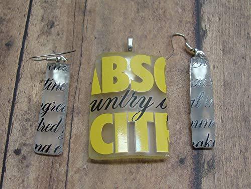 UpCycled Absolut Citron Vodka Bottle Novelty Jewelry Pendant and Earring Set ()
