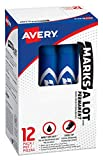 Avery Marks-A-Lot Permanent Markers, Regular Desk-Style Size, Chisel Tip, 12 Blue Markers (07886)