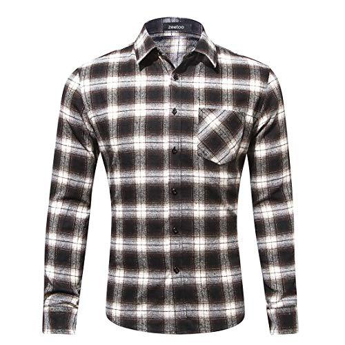 zeetoo Men's Casual Flannel Plaid Shirt Long Sleeve Button Down Shirts 01