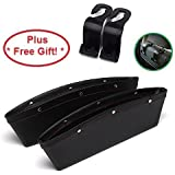 Car Seat Gap Filler & ipocket organizer Fills the gap between the seats and Stop item before it Drop. Premium PU Leather + FREE gift (2 Pcs Car seat catcher and 2 Headrest hooks, Including Velcros
