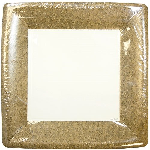 Lillian Tablesettings 24-Piece Square Paper Plates Set, 10-Inch, Gold Texture Border Texture Square Plates