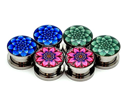 Set of 3 pairs Screw on Picture Plugs - Set #6 - (Blue Lotus, Green Lotus, Flower Mandala) - All 3 pairs included (10g (2.5mm)) - 10g Plugs Jewelry Body