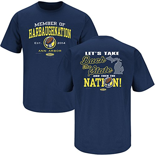 (Smack Apparel Michigan Football Fans. Harbaughnation Navy T-Shirt (XL))