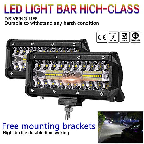 Ocamo LED Flood Lights 7 inch 400W LED Work Light Bar Flood Spot Beam Offroad 4WD SUV Driving Fog Lamp 2pcs