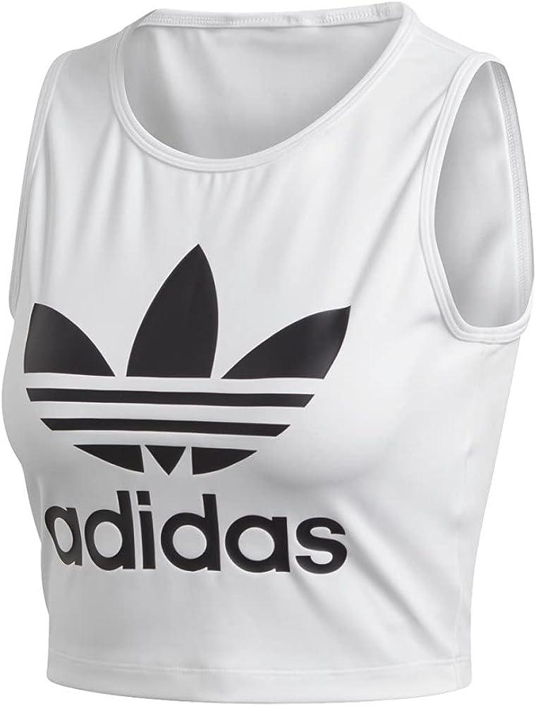 adidas Mujer Cropped Tank Camisetas de Tirantes Blanco