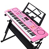 LIUFS Keyboard Children Beginner Piano Keys 6-12 Years Old Microphone Baby Multi-function Music Prince Black (send 10) + Piano + Piano Cover