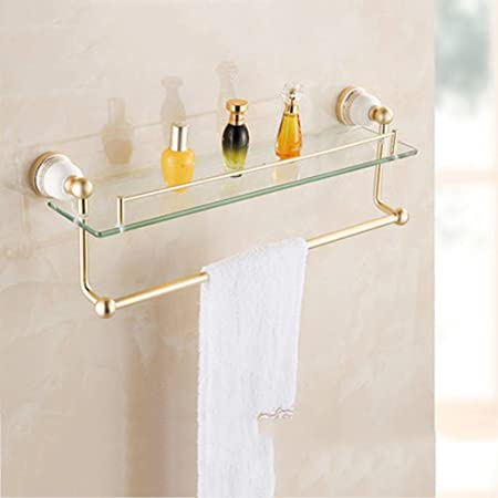 Gold Bathroom Shelf/Bathroom Shelf/Glass Dressing Table/Blue and ...