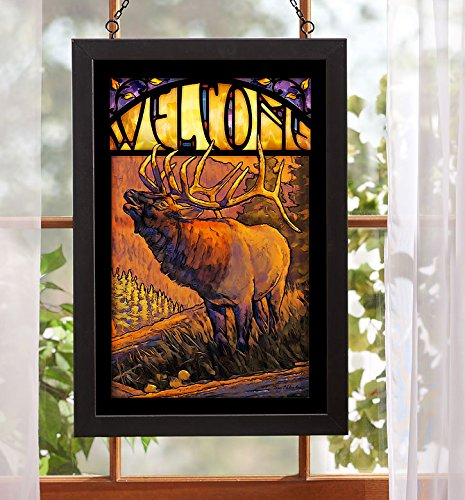 Welcome - Elk Stained Glass Art by Tony Hilscher (Art Glass Elks)