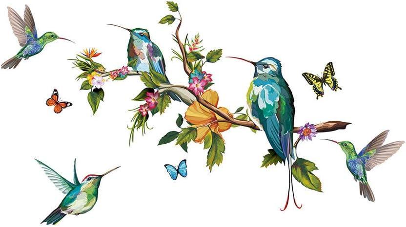Sencillo Vida Pegatinas de pared Colibrí Pájaro vinilo adhesivo decorativo para las niñas habitación de niño Wall Stickers salón dormitorio TV fondo Inicio 50x70cm