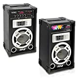 Pyle PSUFM625 Disco Jam 600 Watt 2-Way PA Speaker System, SD Card Reader, FM Radio, AUX/MP3 Input, USB Charging