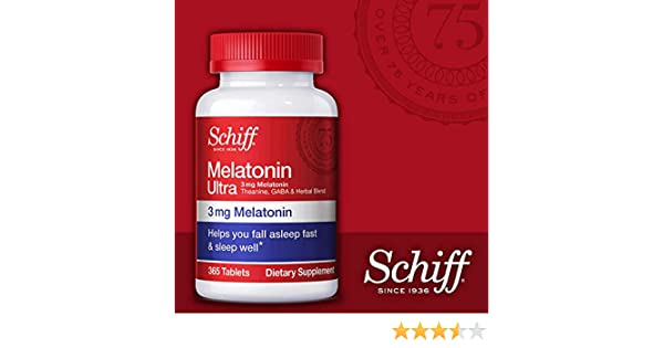Schiff Melatonin Ultra, for Stress Relief & a Sounder Sleep, 3 mg Melatonin, Tbeanine, GABA & More, 2 Bottles...