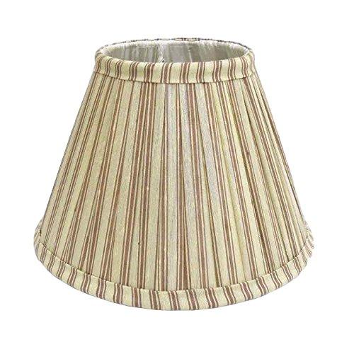 table étroite écran de lampe de soie de 25cm Better & Best 0213258 bicolore à rayures Taupe et Vert