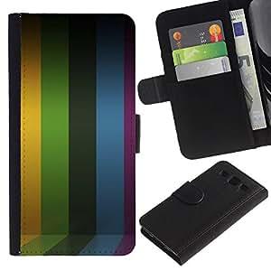 iKiki Tech / Cartera Funda Carcasa - Lines Stripes Purple Rainbow Yellow - Samsung Galaxy S3 III I9300